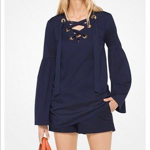 NWT Michael Kors lace up tunic top navy XS